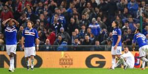 Genova, 06/12/2015 Serie A/Sampdoria-Sassuolo Gol Sassuolo (0-3): delusione Lucas Martins Fernando-Edgar Osvaldo Barreto-Matias Agustin Silvestre-Emiliano Viviano-Mattia Cassani