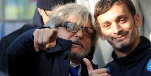 Genova, 24/01/2016 Serie A/Sampdoria-Napoli Massimo Ferrero (presidente Sampdoria)-Manolo Gabbiadini-Christian Maggio