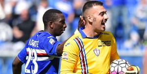 Genova, 24/04/2016 Serie A/Sampdoria-Lazio Modibo Diakite-Emiliano Viviano - Esultanza rigore parato
