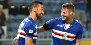 GENOA, ITALY - AUGUST 28: Fabio Quagliarella and Jacopo Sala during the Serie A match between UC Sampdoria and Atalanta BC at Stadio Luigi Ferraris on August 28, 2016 in Genoa, Italy. (Photo by Getty Images/Getty Images)