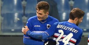 Genova, 12/02/2017 Serie A/Sampdoria-Bologna Gol Sampdoria (2-1): esultanza Lucas Sebastian Torreira-Patrik Schick-Bartosz Bereszynski-Fabio Quagliarella