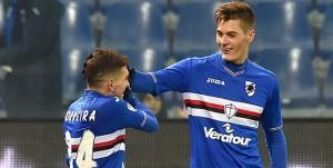Genova, 12/02/2017 Serie A/Sampdoria-Bologna Gol Sampdoria (2-1): esultanza Lucas Sebastian Torreira-Patrik Schick