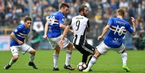 Genova, 18/03/2017 Serie A/Sampdoria-Juventus Lucas Sebastian Torreira-Vasco Regini-Gonzalo Gerardo Higuain-Karol Linetty