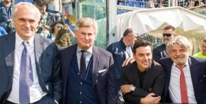 Genova, 24/09/2017 Serie A/Sampdoria-Milan Antonio Romei (avvocato Massimo Ferrero)-Daniele Prade (responsabile area tecnica Sampdoria)-Vincenzo Montella (allenatore Milan)-Massimo Ferrero (presidente Sampdoria)-Marco Fassone (a.d. Milan)