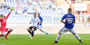 Genova, 15/10/2017 Serie A/Sampdoria-Atalanta Gol Sampdoria (3-1): Karol Linetty
