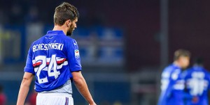 Genova, 24/01/2018 Serie A/Sampdoria-Roma Gol Roma (1-1): delusione Bartosz Bereszynski