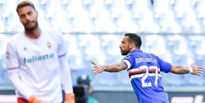 Genova, 21/01/2018 Serie A/Sampdoria-Fiorentina Gol Sampdoria (1-0): delusione Marco Sportiello - esultanza Fabio Quagliarella