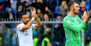 18-03-2018: GENOVA, SAMPDORIA-INTER CAMPIONATO SERIE A TIM 2017-2018 Fabio Quagliarella e Emiliano Viviano sotto la Sud