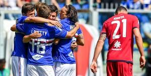 Genova, 29/04/2018 Serie A/Sampdoria-Cagliari Gol Sampdoria (1-0): esultanza Bartosz Bereszynski-Dennis Praet-Karol Linetty-Edgar Osvaldo Barreto - delusione Artur Ionita