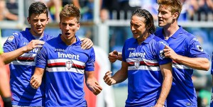 Genova, 29/04/2018 Serie A/Sampdoria-Cagliari Gol Sampdoria (1-0): esultanza Bartosz Bereszynski-Dennis Praet-Edgar Osvaldo Barreto-Joachim Andersen