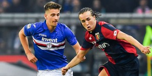 Genova, 07/04/2018 Serie A/Sampdoria-Genoa Dennis Praet-Diego Sebastian Laxalt