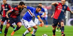 Genova, 07/04/2018 Serie A/Sampdoria-Genoa Pedro Miguel Almeida Lopes Pereira-Fabio Quagliarella-Luca Rigoni