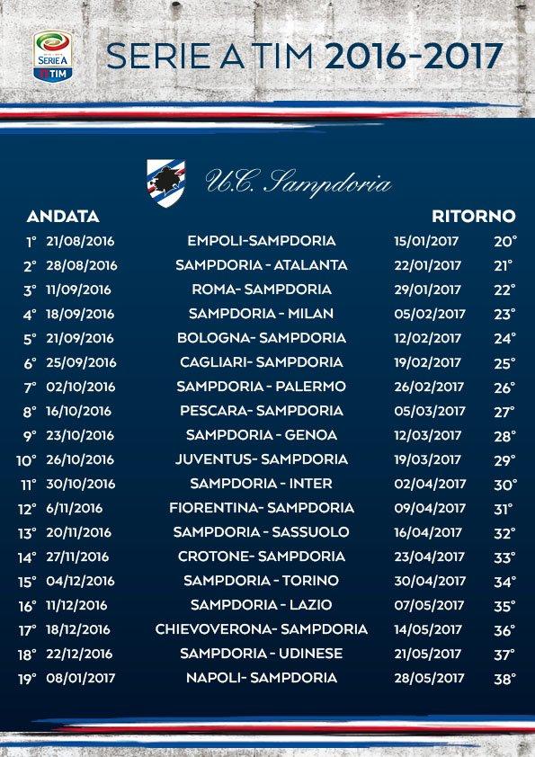 Calendario Serie A Sampdoria.Calendario Serie A Sampdoria Calendario 2020
